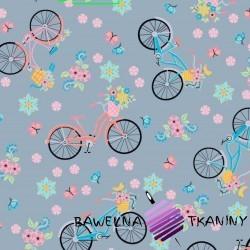 Bawełna różowo niebieskie rowerki na szarym tle