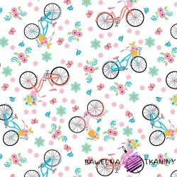 Bawełna różowo niebieskie rowerki na białym tle