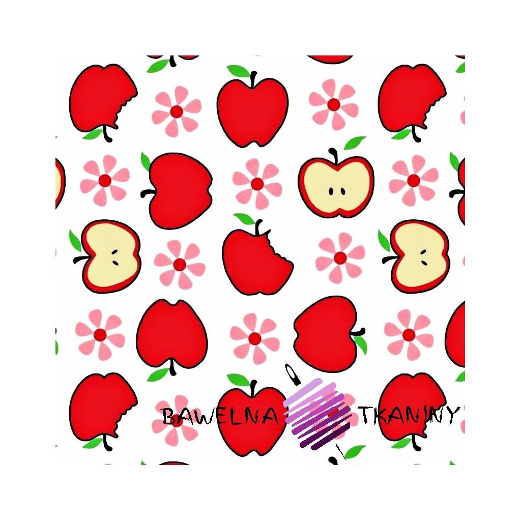 Bawełna czerwone jabłka białe tło