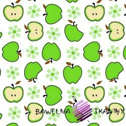 Bawełna zielone jabłka białe tło