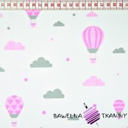Bawełna różowo szare baloniki z chmurkami na białym tle