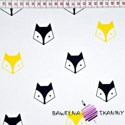 Bawełna czarno żółte liski na białym tle