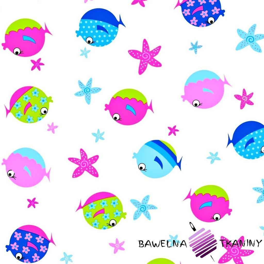 Bawełna kolorowe rybki na białym tle