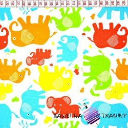 Cotton colorful elephants on white background