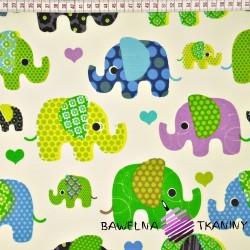 Bawełna Słonie indyjskie zielono niebieskie na ecru tle