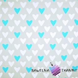 Bawełna serca biało niebieskie na szarym tle