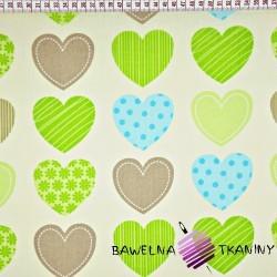 Bawełna serca wzorzyste zielono brązowe na ecru tle