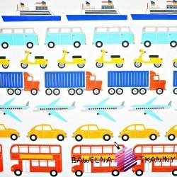 Bawełna pojazdy flota kolorowa na białym tle