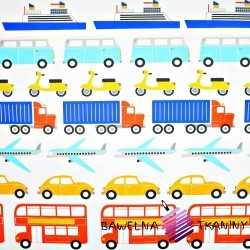 Cotton colorful Fleet of vehicles on white background