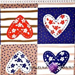 Bawełna patchwork serca granatowe
