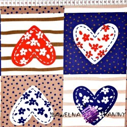 Cotton navy blue hearts patchwork