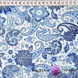 Cotton blue flowers pattern on white background