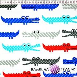 krokodylki niebiesko, szaro czerwone na białym tle
