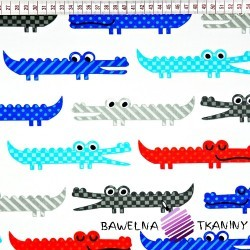 Cotton red, blue, gray crocodiles on white background