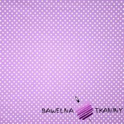 Bawełna białe grochy na fioletowym tle