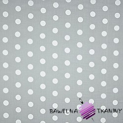 Cotton whit big dots on gray background