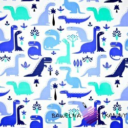 Bawełna dinozaury niebieskie