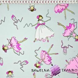 Baletnice różowo białe na szarym tle