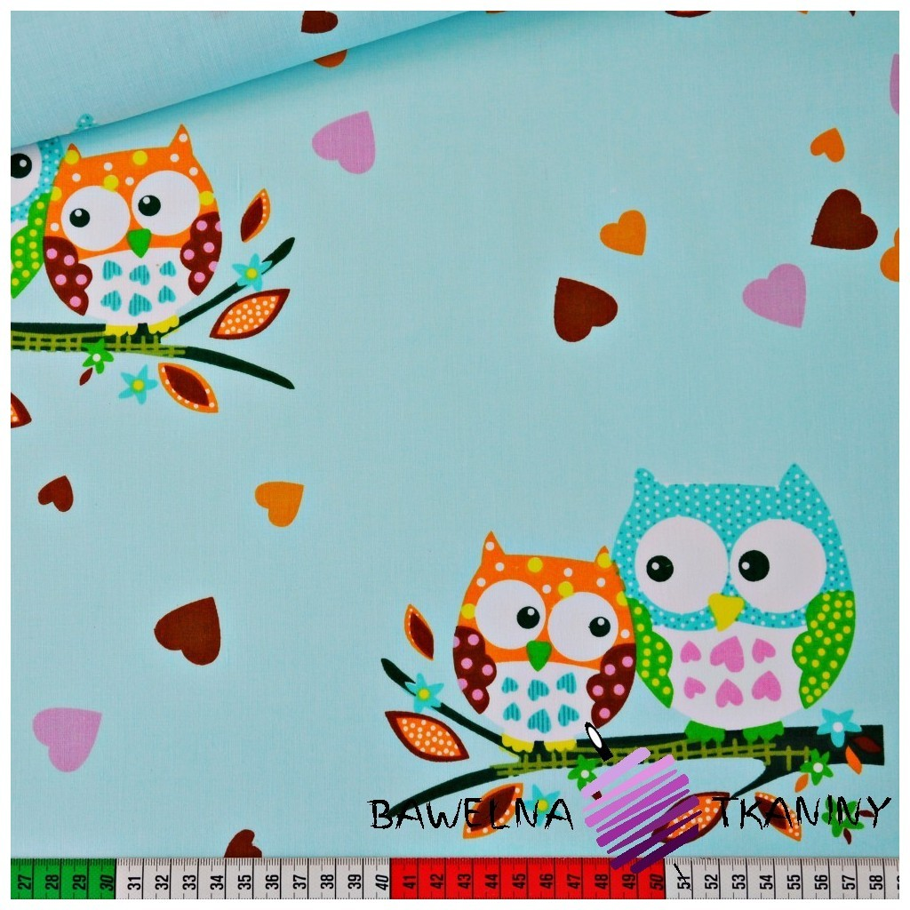 Cotton big owls on mint background