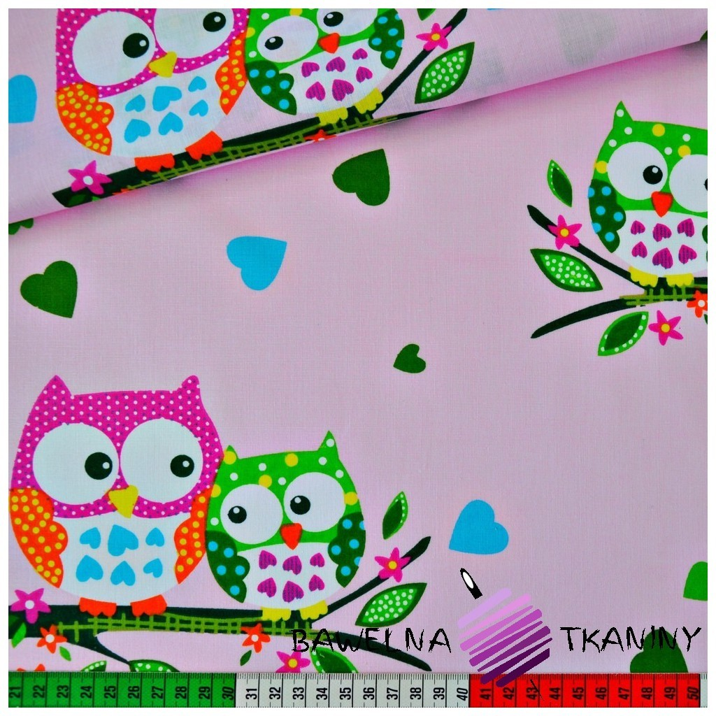 Cotton big owls on pink background