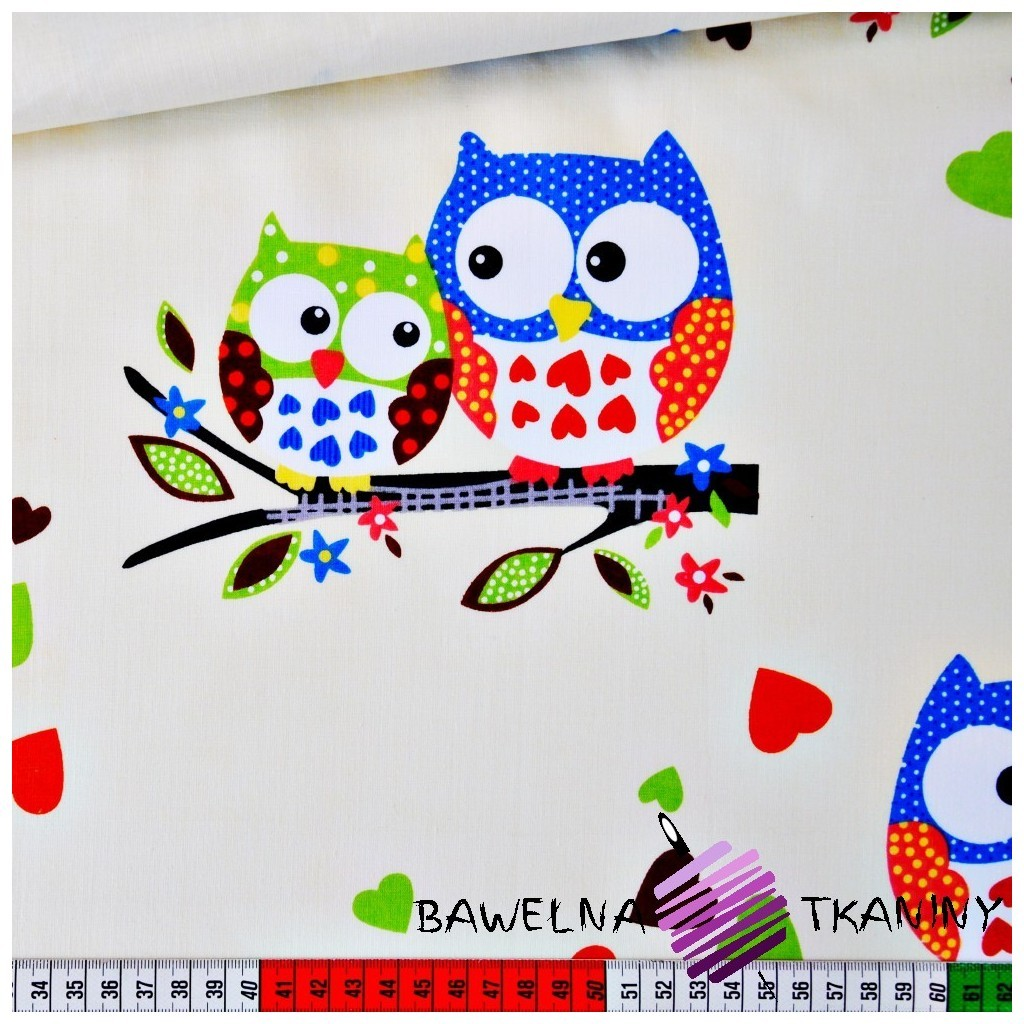 Cotton big owls with hearts on ecru background