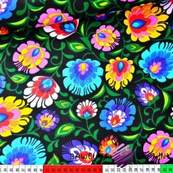 Cotton colorful folk pattern on black background