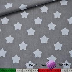Bawełna gwiazdki piernikowe białe na szarym tle