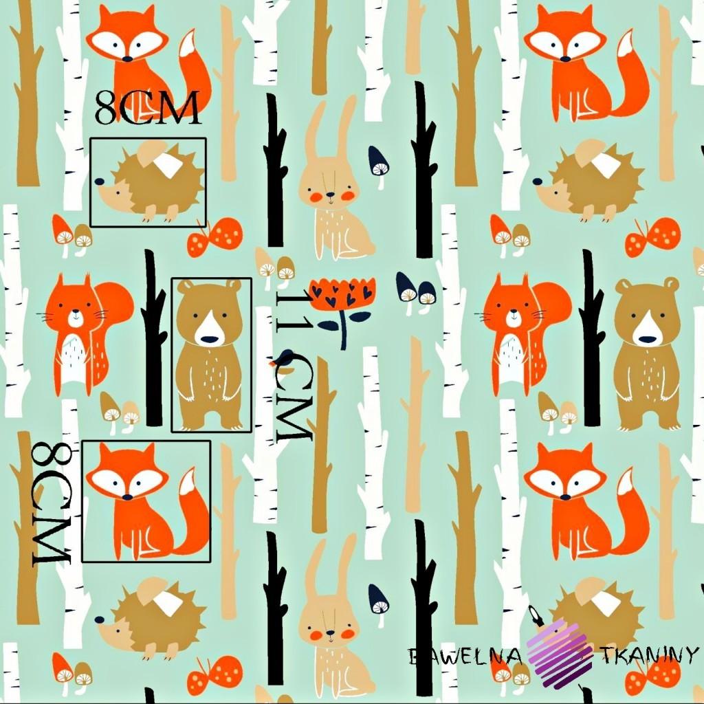 Bawełna zwierzęta w lesie na miętowym tle