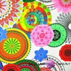 Bawełna kwiatowy kalejdoskop na białym tle