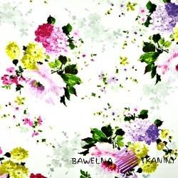Bawełna kwiaty bukiety różowo zielone na białym tle