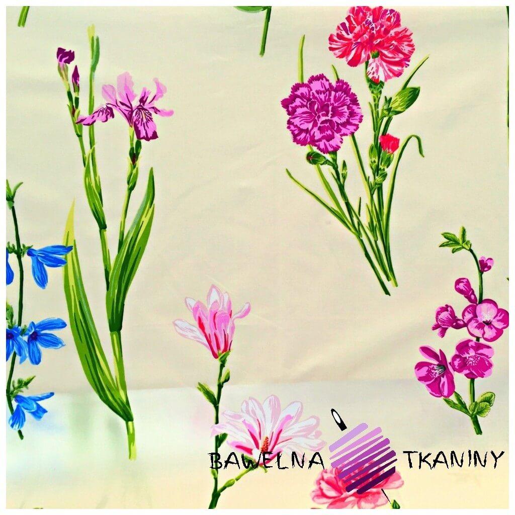 Bawełna Kwiaty irysy i goździki na ecru tle