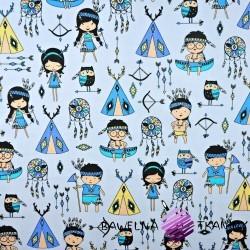 Bawełna Indianie niebiescy na błękitnym tle