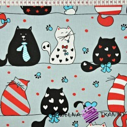 Cotton crazy cats with red & turquoise additives on gray backgrounds