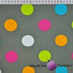Cotton colorful circles on gray background