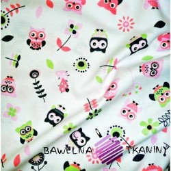 Knitwear pink & green owls on white background