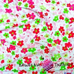 Knitwear colorful flowers on white background