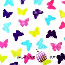 Knitwear colorful butterflies on white background