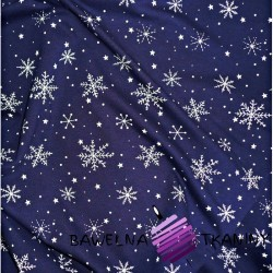Knitwear white snowflakes on navy blue background