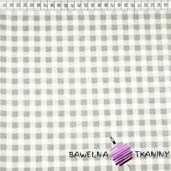 Bawełna kratka szaro biała