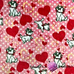 Polar plus kotki z serduszkami na różowym tle