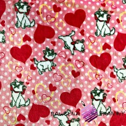 Soft fleece cats with hearts on pink background