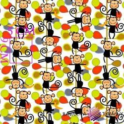 Bawełna małpki zielono czerwone na białym tle