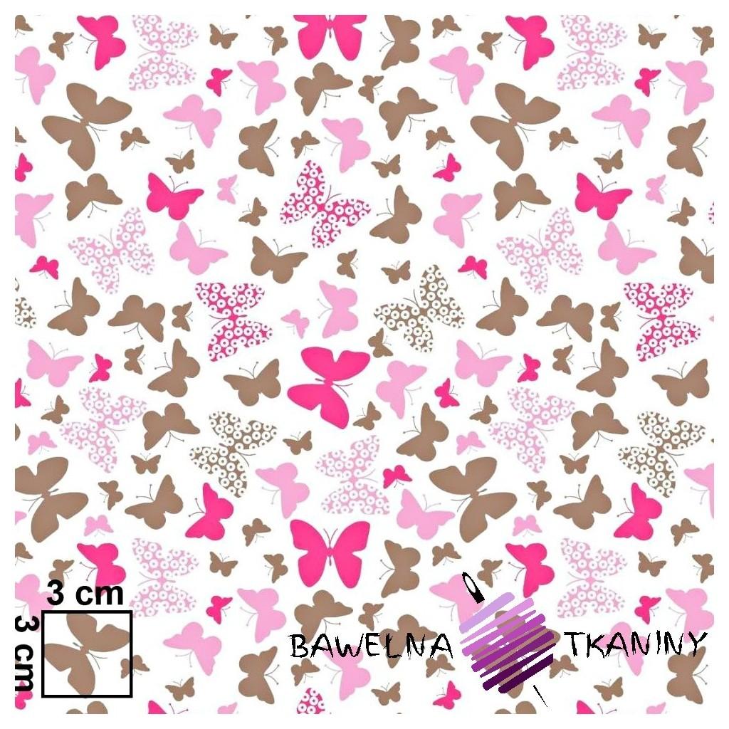Bawełna motylki różowo brązowe na białym tle