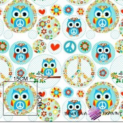 Cotton mint & pink owls in circles on white background
