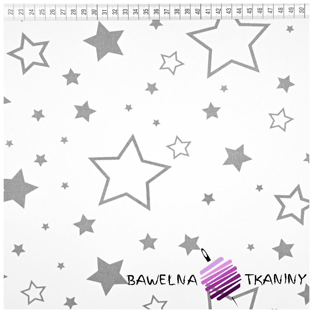 Bawełna gwiazdy duże biało szare na białym tle