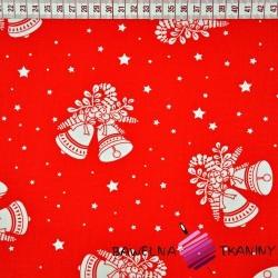Bawełna wzór świąteczny dzwonki na czerwonym tle