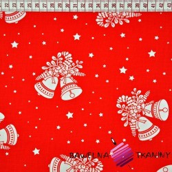 Cotton Christmas pattern bells on red background