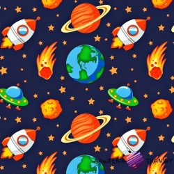 Cotton orange universe on navy blue background