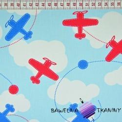 Bawełna Samoloty niebiesko czerwone na błękitnym tle