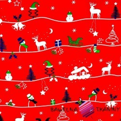 Cotton christmas patter winter trail on red background